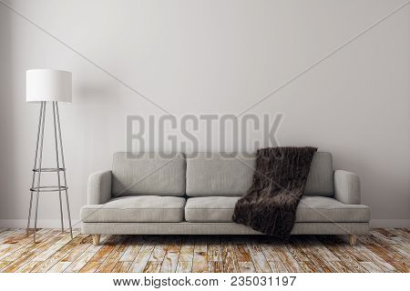 Contemporary Living Room Interior With Copy Space On Wall, Sofa And Lamp. Mock Up, 3d Rendering