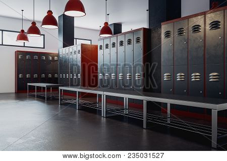 Clean Locker Room Gym School Interior. 3d Rendering