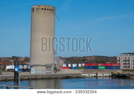 Vordingborg Denmark - April 6. 2018: Demolition Of A Silo Ends Badly As The Silo Falls In The Wrong
