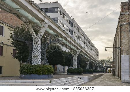 Venice, Italy- March 24, 2018: The People Mover Railway Line Is A Small Train That Connects Tronchet