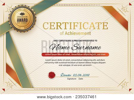 Official Retro Certificate With Red Gold Design Elements. Red Ribbon And Gold Emblem. Vintage Modern