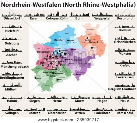 Germany State North Rhine-westphalia High Detailed Vector Map With Largest Cities Skylines Silhouett