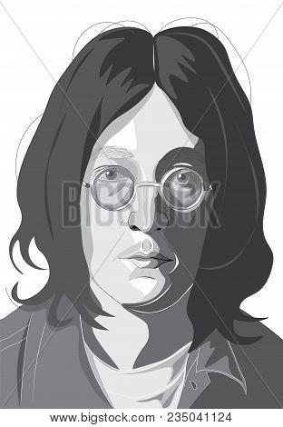 April 6 2018. The Illustration Of The Beatles Band Member John Lennon On A White Background, Editori