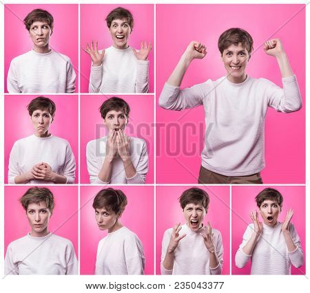 Different Emotions Collage. Set Of Young Emotional Woman Over Pink Background. Female Different Emot