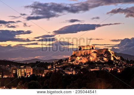 Illuminated Acropolis In Athens, Greece At Dusk