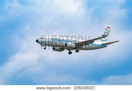 AIRPORT FRANKFURT,GERMANY: JUNE 23, 2017: Boeing 737 TAROM, is the flag carrier and oldest currently operating airline of Romania, based in Otopeni near Bucharest.