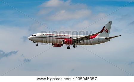 AIRPORT FRANKFURT,GERMANY: JUNE 23, 2017: Boeing Air Algerie is the national airline of Algeria, with its head office in the Immeuble El-Djazair in Algiers