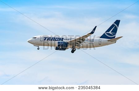 AIRPORT FRANKFURT,GERMANY: JUNE 23, 2017: Airbus A310-300 TAROM, is the flag carrier and oldest currently operating airline of Romania, based in Otopeni near Bucharest.