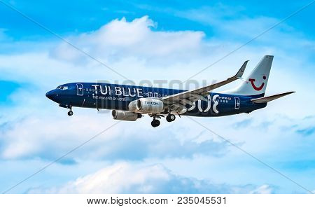 AIRPORT FRANKFURT,GERMANY: JUNE 23, 2017: Boeing 737 TUI fly Deutschland form is a German leisure airline owned . TUI fly Deutschland is part of the TUI Airlines alliance.