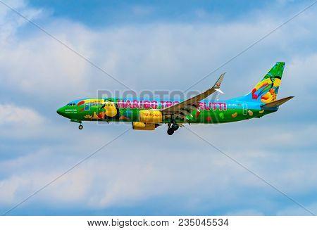 AIRPORT FRANKFURT,GERMANY: JUNE 23, 2017: Boeing 737 TUI fly Deutschland form is a German leisure airline owned. TUI fly Deutschland is part of the TUI Airlines alliance.