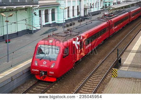 Moscow, Russia - April 15, 2015: Aeroexpress Train At The Platform Of The Belarusian Railway Station