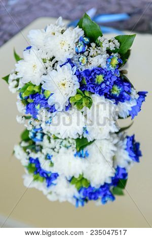 Wedding Bouquet Of White And Blue Chrysanthemum Flowers, Hyacinth Bud. Delicate White Gentle Blue Ch