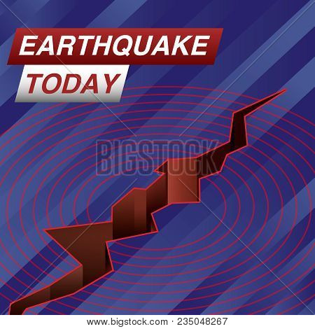 Earthquake Today Live Banner On Glowing Wavy Lines Background With An Abstract Earth Fault And Seism