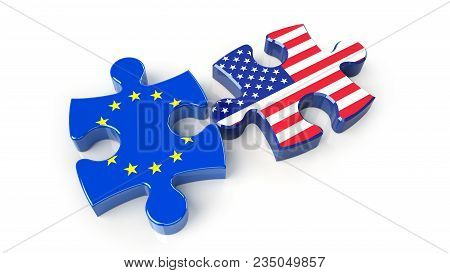 Usa And Eu Flags On Puzzle Pieces. Political Relationship Concept