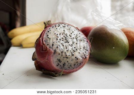 Large Pitaya Fruit. Vivid And Vibrant Dragon Fruit On The Fruit Background