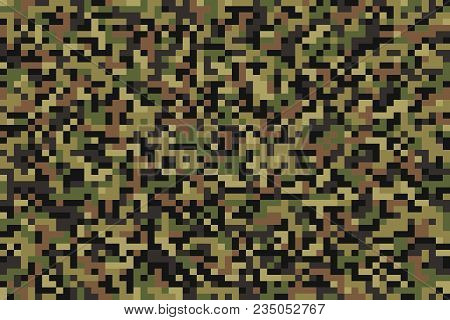 Seamless Summer Pixel Forest Green Camouflage Pattern. Vector Illustration.