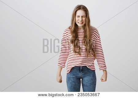 She Will Grow And Revenge All Bullies And Bad Guys. Portrait Of Angry Weak European Teenager Clenchi