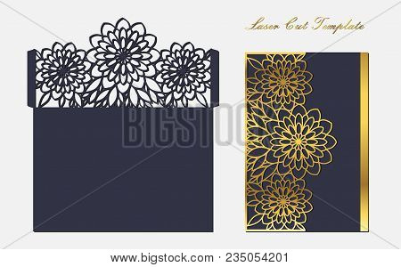 A Blue Openwork Envelope With Floral Ornaments And Gold Decor. Template Of Cover For Laser Cutting.