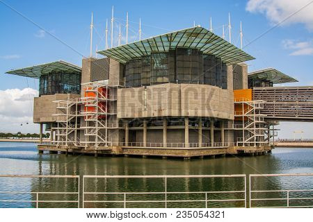 Lisbon Portugal. 04 April 2018. Exterior View Of The Oceanario De Lisboa One Of The World Greates Aq