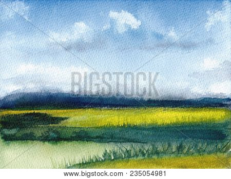Watercolor Painting Of Summer Landscape With Mountains, Blue Sky, Clouds, Green Glade. Abstract Hand