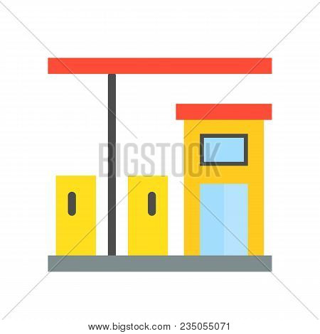 Gas Station, Petrol Station, Filling Station Simple Icon, Flat Design