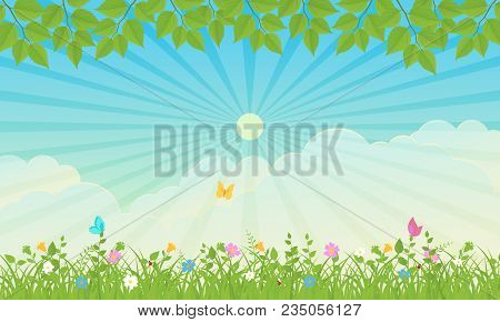 Spring Nature Background With Leaves And Grass. Vector Illustration.