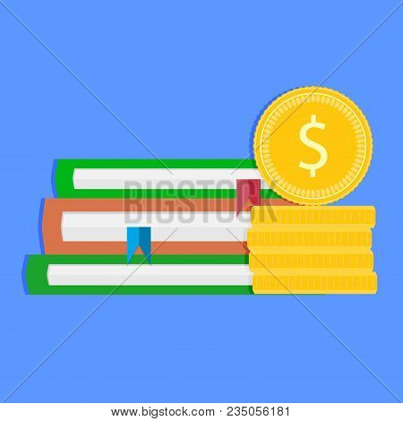 Investment In Future And Graduation. Financial Money In Grant Degree, Books Stack And Coins. Vector