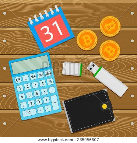 Salary In Crypto Coin Bitcoin. Crypto Salary On Wallet, Bitcoin And Calculator. Vector Illustration