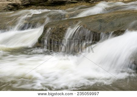 Mountain River With Rapids, The Water Flows Through The Stone Rapids, The Water Flow, Stream