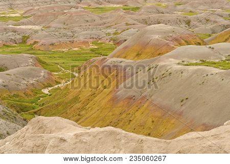 Colorful Sediments In The Badlands In Badlands National Park In South Dakota