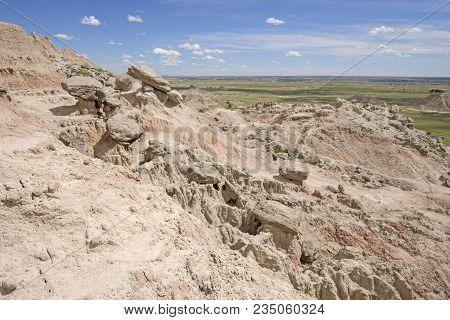 Rocky Crest To A Badlands Hill In Badlands National Park In South Dakota
