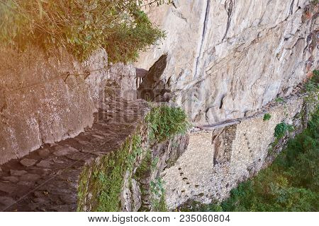 Inca Bridge Trail Road In Machu Picchu Peru. Peruvian Unesco Protected Place