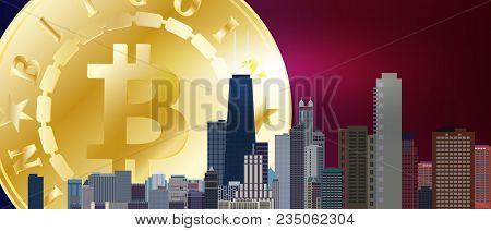 Big Golden Bitcoin Symbol On Night Blue Red City Sky. Bitcoin And Blockchain Technology Concept. Bit