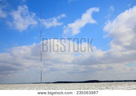 High Antenna Mast Of The Cellular Network.