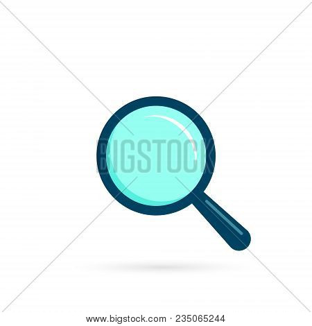 Magnifying Glass Icon, Vector Magnifier Or Loupe Flat Color Sign.