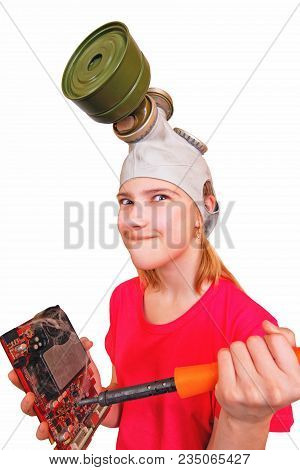 Comic, Distortion: Girl Teenager Wearing A Gas Mask Pokes A Soldering Iron In An Electronic Video Ca