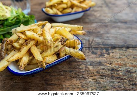 French Fries With Avocado And Mustard Salad