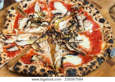 Portobello Italian Pizza On The Thin Base With Melted Mozzarella