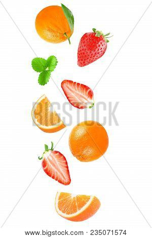 Isolated Flying Fruits. Falling Fruit Isolated On White Background With Clipping Path As Package Des