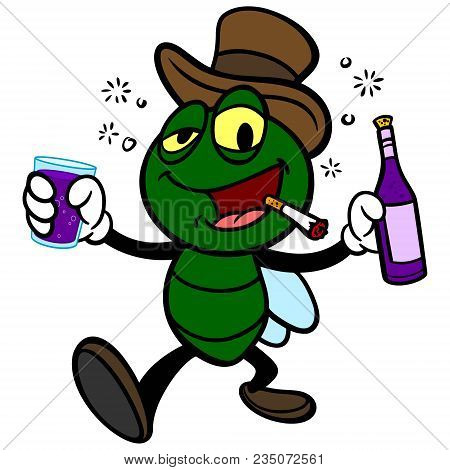 Bar Fly With Wine - A Vector Cartoon Illustration Of A Bar Fly With Wine.