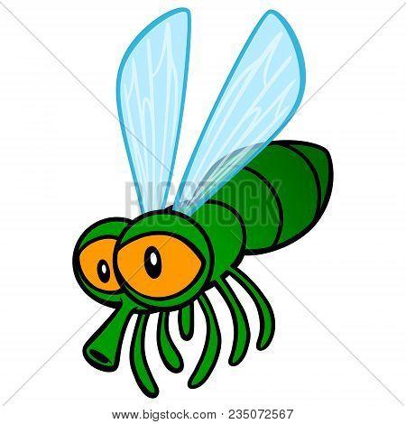 Fly Cartoon - A Vector Cartoon Illustration Of A Cute Cartoon Fly.