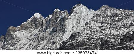 Kinshung. View From Kyangjin Gumba. Mountains And Glacier Of The Langtang Himal.