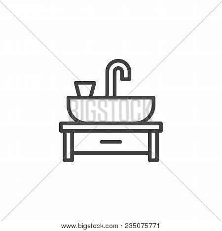 Wash Basin Outline Icon. Linear Style Sign For Mobile Concept And Web Design. Sink Basin Faucet Simp