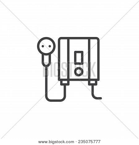 Electric Water Heater Outline Icon. Linear Style Sign For Mobile Concept And Web Design. Home Electr