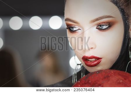 Fashion Art Portrait Of Beautiful Girl. Vogue Style Woman. Hairstyle.