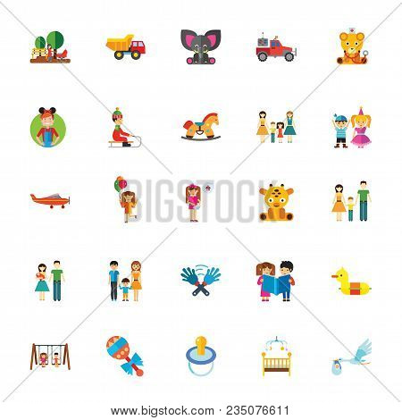 Icon Set Of Childhood Symbols. Family, Toys, Childcare. Children Concept. For Topics Like Parenthood
