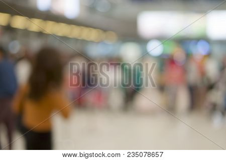 Abstract Blurred Tourism Waiting For Check In At Airport Terminal