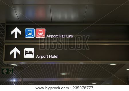 Airport Rail Link And Airport Hotel Information Board Sign
