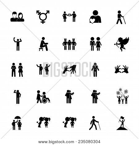 Icon Set Of Human Relations Signs. Social Role, Dating, Family. People Concept. For Topics Like Soci