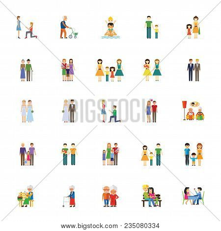 Icon Set Of Human Relationships. Family, Couple, Dating. People Concept. For Topics Like Relations,